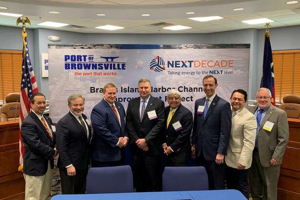 During a Wednesday morning signing ceremony, Houston liquefied natural gas company NextDecade has entered into an agreement to deepen nearly half of Brownsville Ship Channel. From left: Cameron County Judge Eddie Trevino Jr, U.S. Deputy Secretary of Energy Dan Brouillette, Brownsville Navigation District Chairman John Reed, NextDecade CEO Matt Schatzman, Brownsville Mayor Tony Martinez, Texas Secretary of State David Whitley, Brownsville Navigation District Vice Chairman Sergio Tito Lopez and Port of Brownsville CEO Eddie Campirano.