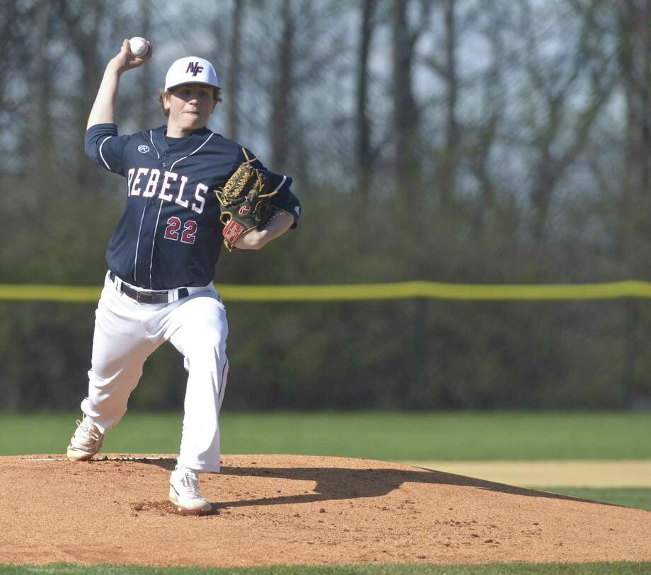 New Fairfield's Jake Smith (22) pitches in the baseball game between Bethel and New Fairfield high schools, Wednesday, April 24, 2019, at New Fairfield High School, in New Fairfield, Conn. Photo: H John Voorhees III / Hearst Connecticut Media / The News-Times