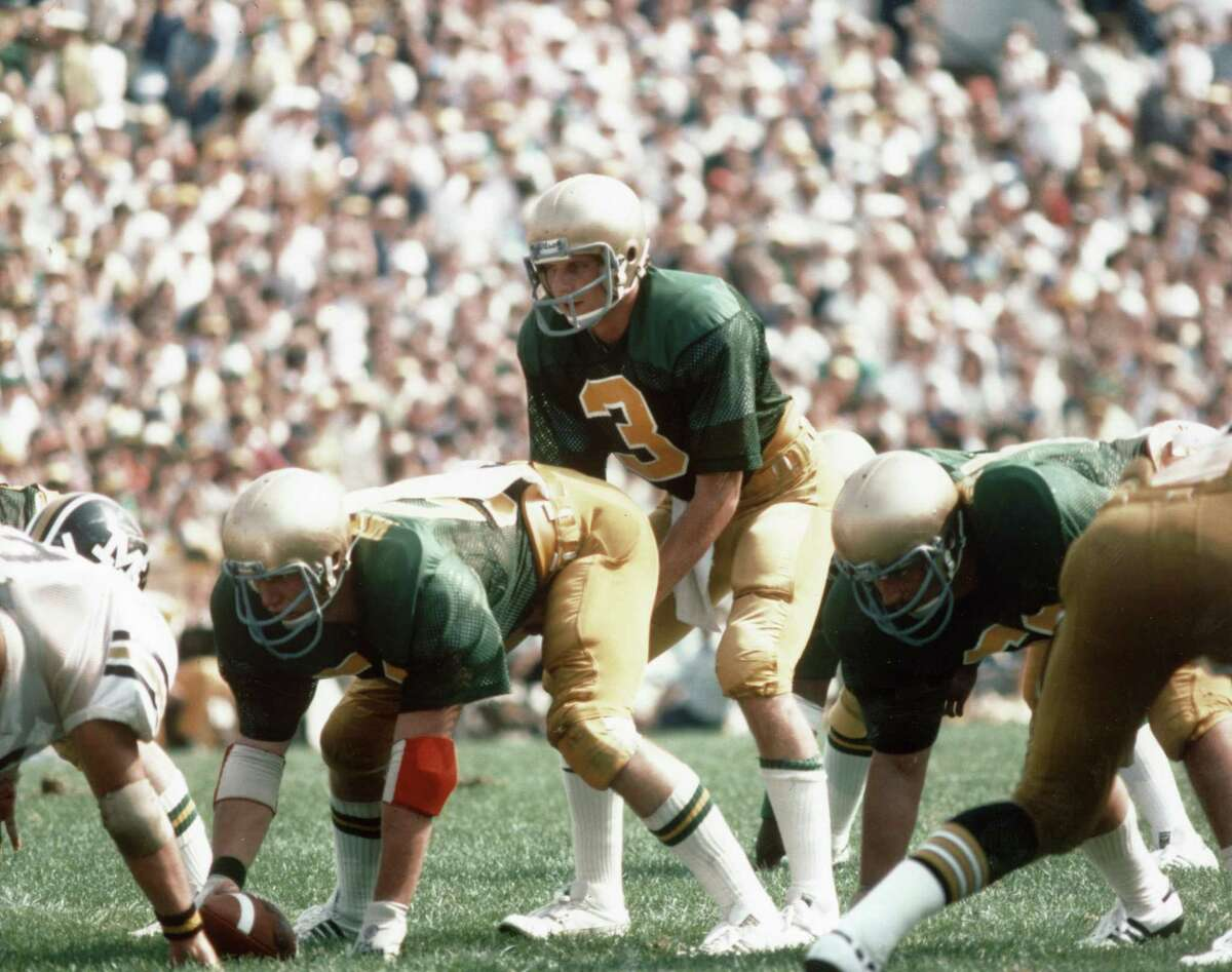 Quarterback Joe Montana #3 of the University of Notre Dame Fighting Irish looks over the defense against the Univeristy of Missouri Tigers at Notre Dame Stadium in South Bend, Indiana, on September 9, 1978. The Tigers won 3-0.