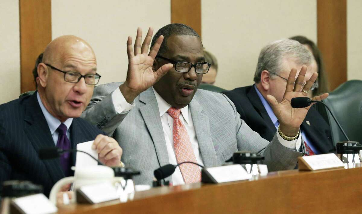 Texas state Sen. Royce West, D-Dallas, center, shown in this 2017 file photo, introduced a bill aiming to make transferring from a community college to a university easier and less costly. That bill passed the Senate Wednesday, April 24, 2019, and now goes to the Texas House for a vote.