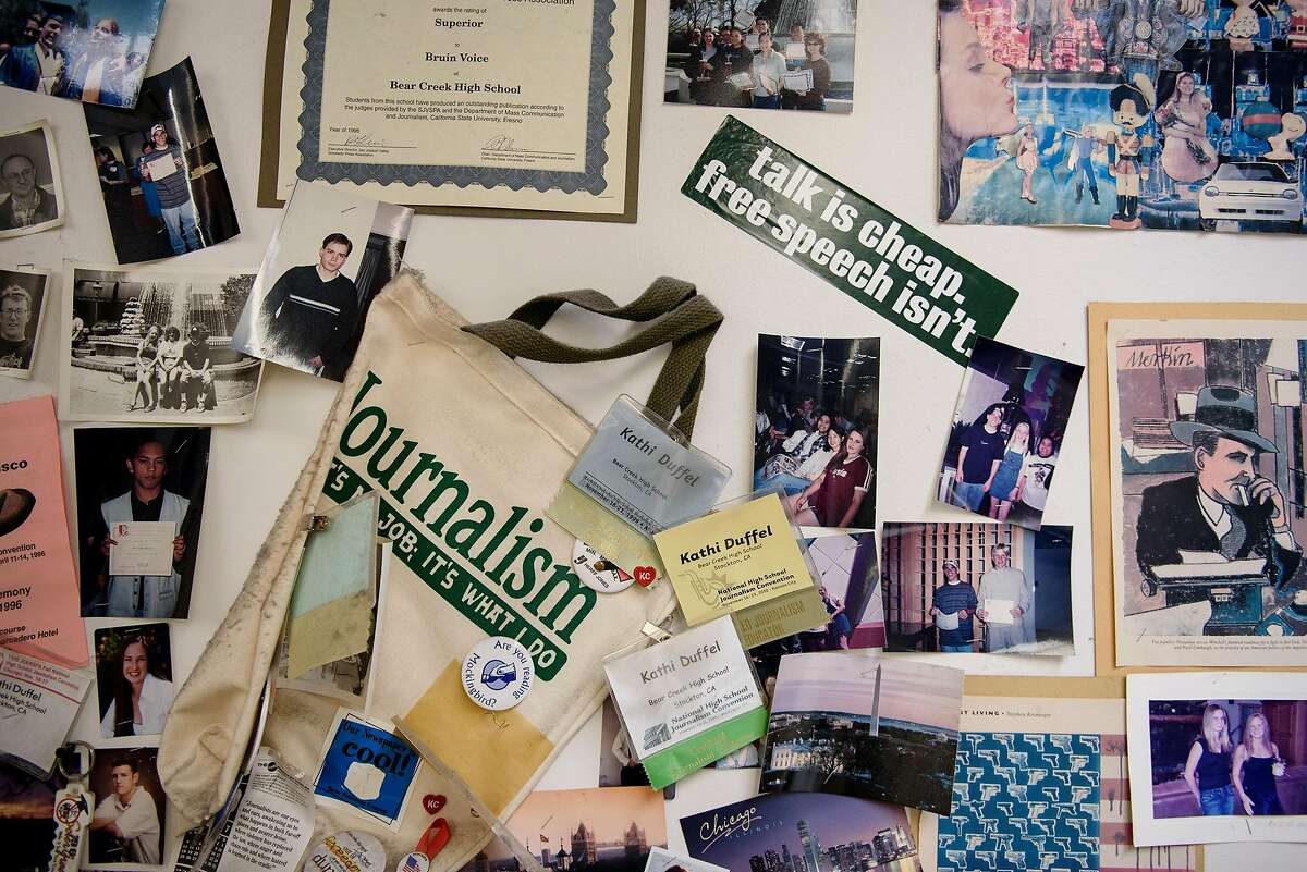 A wall covered in pro-journalism slogans is seen in Kathi Duffel's journalism classroom at Bear Creek High School in Stockton, Calif, on Wednesday, April 24, 2019. The Stockton school district is threatening to fire Kathi Duffel, faculty adviser for the Bruin Voice student newspaper, if she doesn't show them a certain story in advance, violating the papers First Amendment freedom of the press rights.