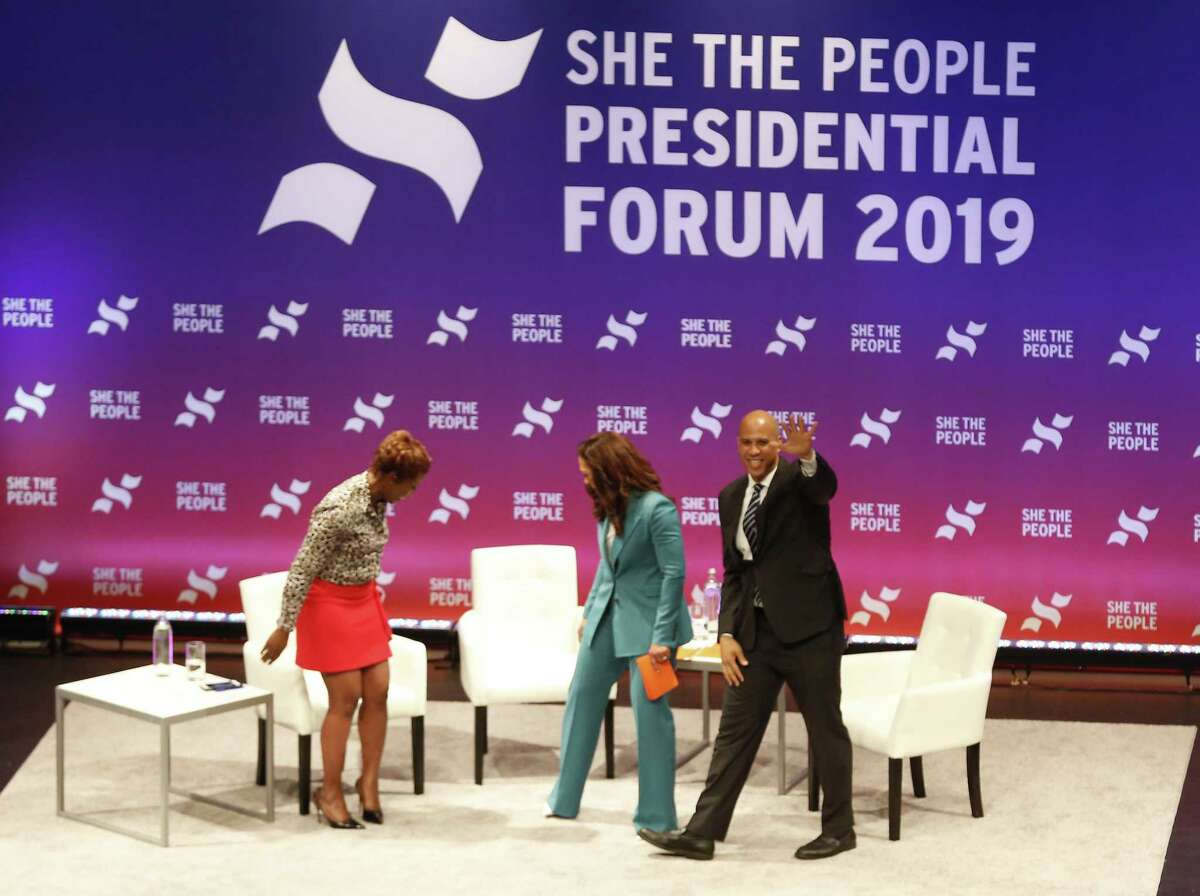 Presidential candidate Sen. Cory Booker waves to the crowd during, She The People, the first-ever Presidential candidate forum focused on issues important to women of color on the campus of Texas Southern University Wednesday, April 24, 2019, in Houston.
