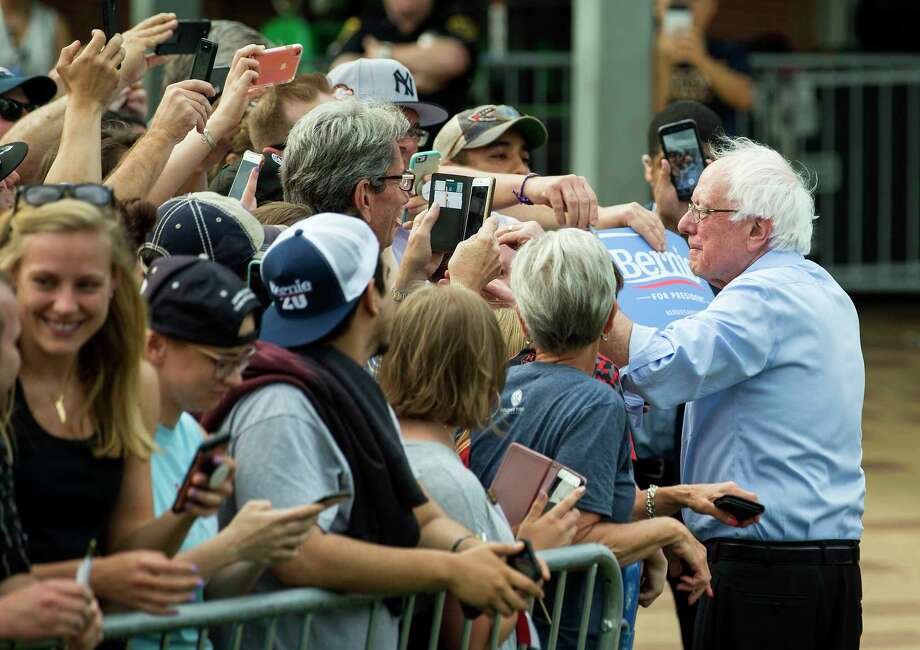 Democratic presidential hopeful Sen. Bernie Sanders shakes hands with supporters following a rally at Discovery Green on Wednesday, April 24, 2019, in Houston. Photo: Brett Coomer, Staff Photographer / © 2019 Houston Chronicle