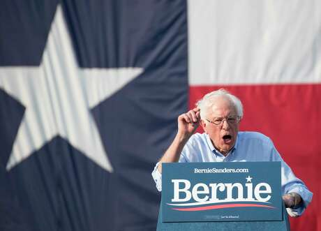 Democratic presidential hopeful Sen. Bernie Sanders speaks during a rally at Discovery Green on Wednesday, April 24, 2019, in Houston.