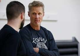Head coach Steve Kerr supervises a Golden State Warriors practice session in Oakland, Calif. on Tuesday, April 23, 2019 before Game 5  of the first round against the Los Angeles Clippers Wednesday night.