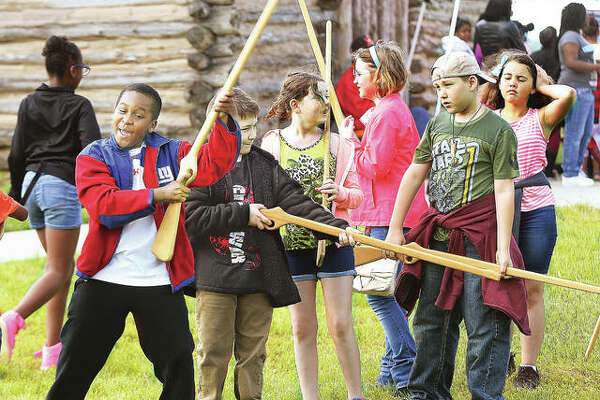 Students from Alton's East Elementary School learned a close order drilling at a previous Education Day at the Lewis and Clark State Historic Site. Hundreds of elementary students will visit the site Friday, May 10, and the public is invited from 10 a.m. to 4 p.m.Saturday and Sunday.