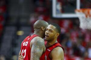 Houston Rockets forward PJ Tucker (17) and Houston Rockets guard Eric Gordon (10) celebrate a shot during the first quarter of Game 5 of an NBA first round playoff series at Toyota Center in Houston, Wednesday, April 24, 2019.