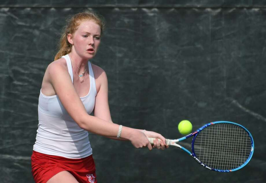 GFA tennis player Harriet Wells, a resident of Westport, returns a shot during a match last week. Photo: GFA Athletics / File Photo / Stamford Advocate file photo