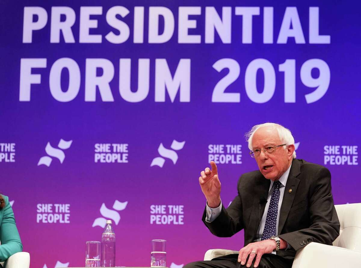 Senator Bernie Sanders speaks at the presidential candidate forum sponsored by She the People at Texas Southern University Wednesday, April 25, 2019.