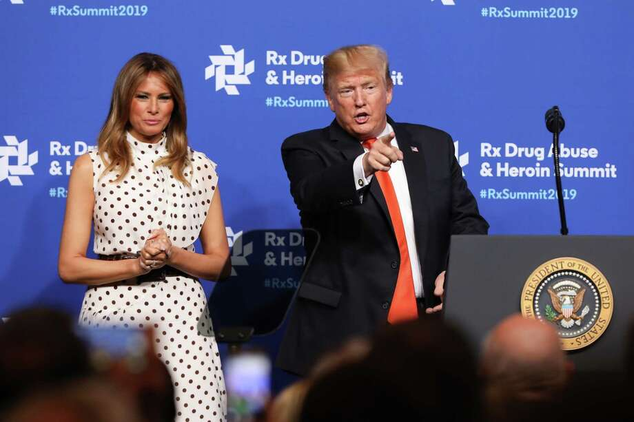 ATLANTA, GA - APRIL 24:  Alongside first lady Melania Trump, President Donald Trump points at members of the audience after a speech at the Rx Drug Abuse & Heroin Summit on April 24, 2019 in Atlanta, Georgia. President Trump has declared the opioid crisis, which has claimed the lives of 48,000 people in the United States, a public health emergency. (Photo by Jessica McGowan/Getty Images) Photo: Jessica McGowan / 2019 Getty Images