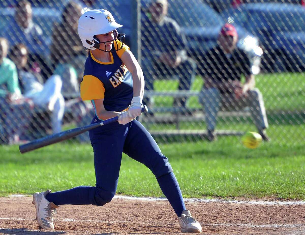 Softball action between East Haven and Norwich Free Academy in East Haven, Conn., on Wednesday April 24, 2019.
