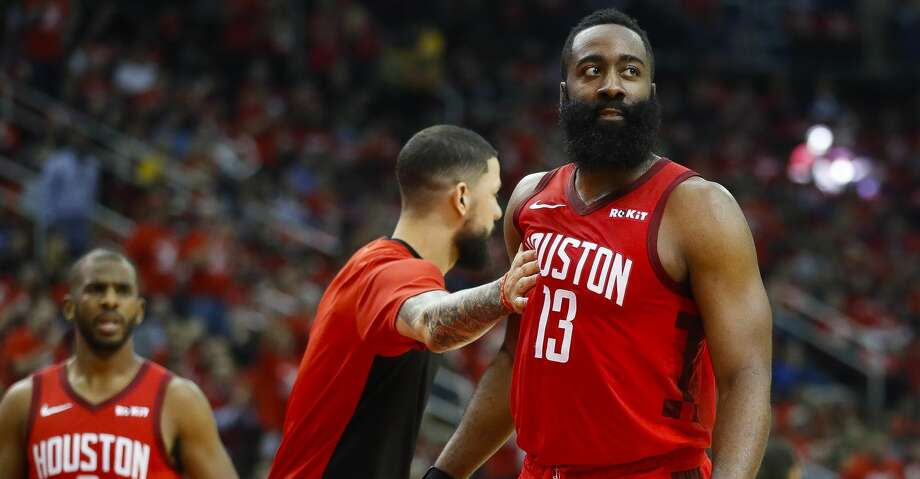 Houston Rockets guard James Harden (13) reacts after a play during the third quarter of game 5 of the NBA playoffs at theToyota Center, in Houston, Wednesday, April 24, 2019. Photo: Karen Warren/Staff Photographer