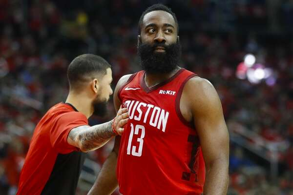 Houston Rockets guard James Harden (13) reacts after a play during the third quarter of game 5 of the NBA playoffs at theToyota Center, in Houston, Wednesday, April 24, 2019.