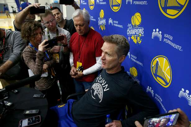 Head coach Steve Kerr meets with sportswriters after a Golden State Warriors practice session in Oakland, Calif. on Tuesday, April 23, 2019 before Game 5 of the first round against the Los Angeles Clippers Wednesday night.
