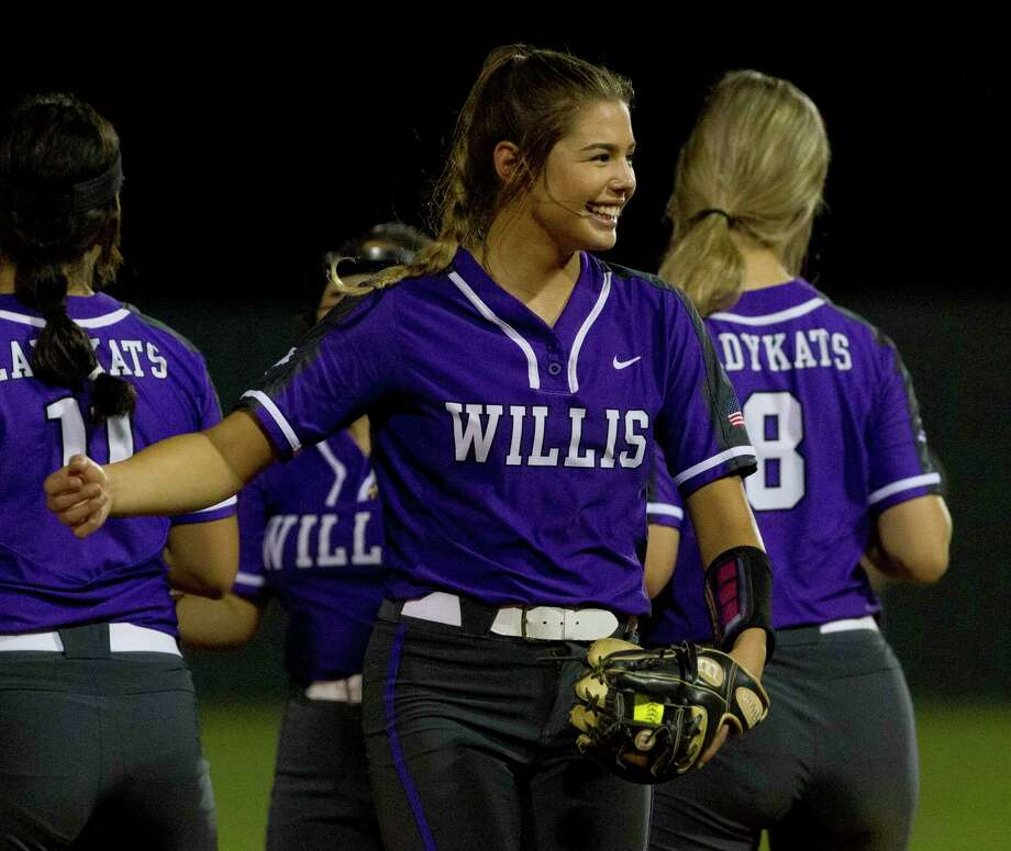 Willis starting pitcher Ashley Vellejo (2) shares a laugh during the seventh inning in Game 1 of a Region III-5A bi-district softball playoff match, Wednesday, April 24, 2019, in Willis. Photo: Jason Fochtman, Houston Chronicle / Staff Photographer / © 2019 Houston Chronicle