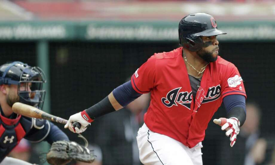 Back with the Indians after a season in Philadelphia, Carlos Santana comes into the Astros series with a .338 batting average and .467 on-base percentage. Photo: Tony Dejak, STF / Associated Press / Copyright 2019 The Associated Press. All rights reserved.