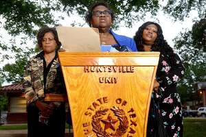 Family of James Byrd, Jr., (from left) sisters Louvon Harris and Clara Taylor and niece Tiffany Taylor make a statement outside of the Huntsville Unit following the execution of John William King Wednesday night. King was the second man executed for the racial-hatred murder of Byrd in 1998. Lawrence Brewer was executed in 2011. Shawn Berry is serving a life sentence.  Photo taken Wednesday, April 24, 2019 Kim Brent/The Enterprise