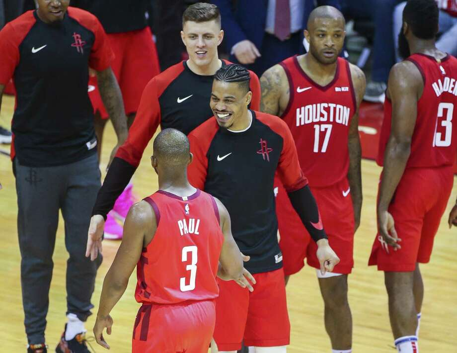 Houston Rockets guard Gerald Green (14) welcomes Houston Rockets guard Chris Paul (3) back to the sideline during Game 5 of an NBA first round playoff series at Toyota Center in Houston, Wednesday, April 24, 2019. Photo: Elizabeth Conley, Houston Chronicle / Staff Photographer / © 2019 Elizabeth Conley / Houston Chronicle