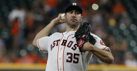 HOUSTON, TEXAS - APRIL 24: Justin Verlander #35 of the Houston Astros pitches in the first inning against the Minnesota Twins at Minute Maid Park on April 24, 2019 in Houston, Texas. (Photo by Bob Levey/Getty Images)