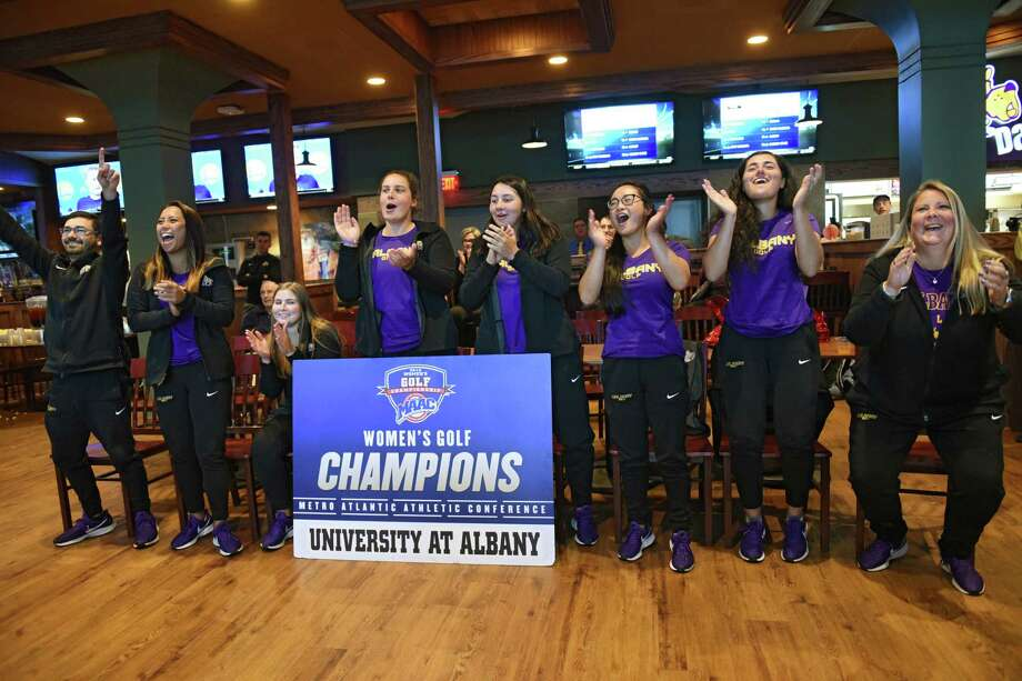 The University at Albany women's golf team reacts as they find out they're going to Opelika, Alabama for the Auburn Regional in the NCAA championships at Damien's in the UAlbany campus center on Wednesday, April 24, 2019 in Albany, N.Y. (Lori Van Buren/Times Union) Photo: Lori Van Buren / 40046756A