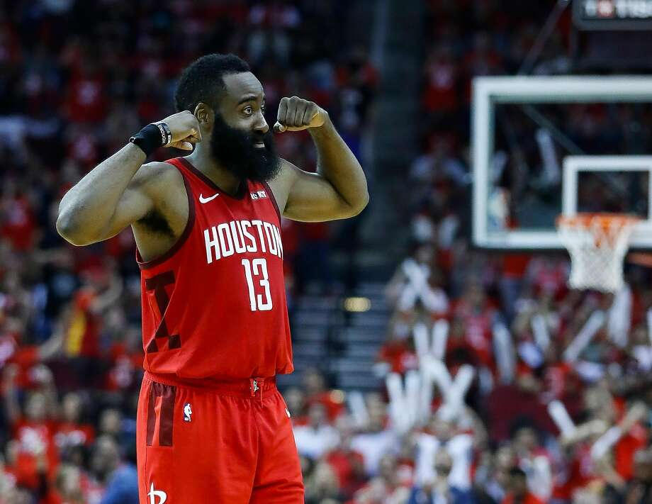Houston Rockets guard James Harden (13) celebrates after a shot during the fourth quarter of game 5 of the NBA playoffs at theToyota Center, in Houston, Wednesday, April 24, 2019. Photo: Karen Warren, Staff Photographer