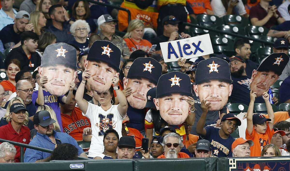 HOUSTON, TEXAS - APRIL 24: Fans cheer on Alex Bregman #2 of the Houston Astros against the Minnesota Twins at Minute Maid Park on April 24, 2019 in Houston, Texas. (Photo by Bob Levey/Getty Images)