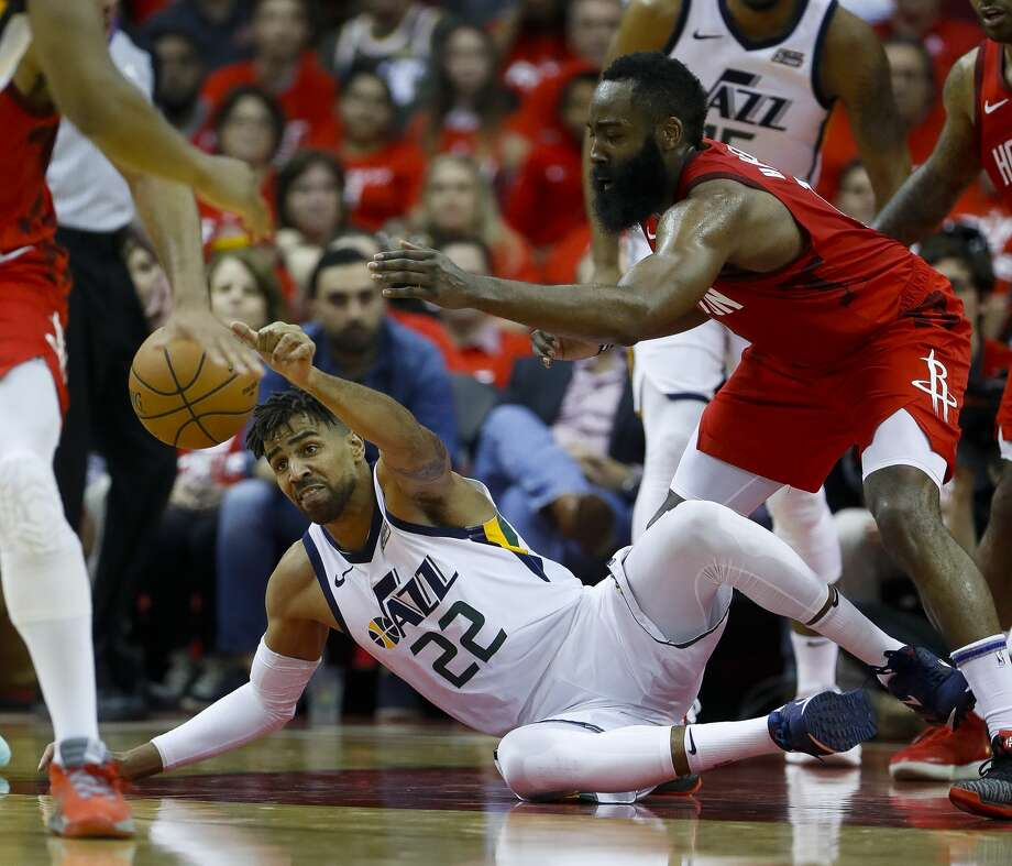 PHOTOS: A look at who played on the Rockets Summer League team this offseason  Utah Jazz forward Thabo Sefolosha (22) tries to hold onto a loose ball defended by Houston Rockets guard James Harden (13) during the third quarter of Game 5 of the NBA playoffs at the Toyota Center, in Houston, Wednesday, April 24, 2019. Photo: Karen Warren/Staff Photographer