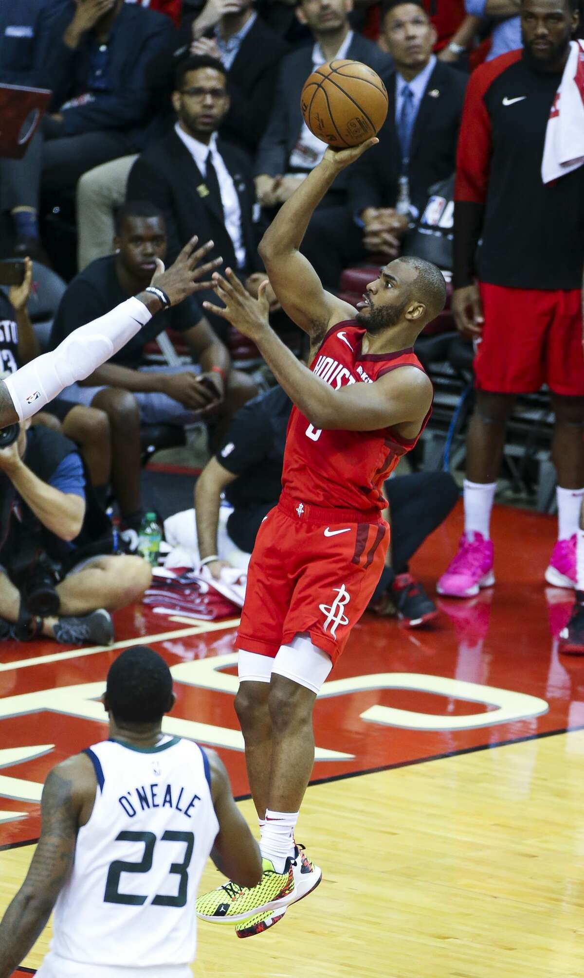 Houston Rockets guard Chris Paul (3) shoots during the fourth quarter of Game 5 of an NBA first round playoff series at Toyota Center in Houston, Wednesday, April 24, 2019.