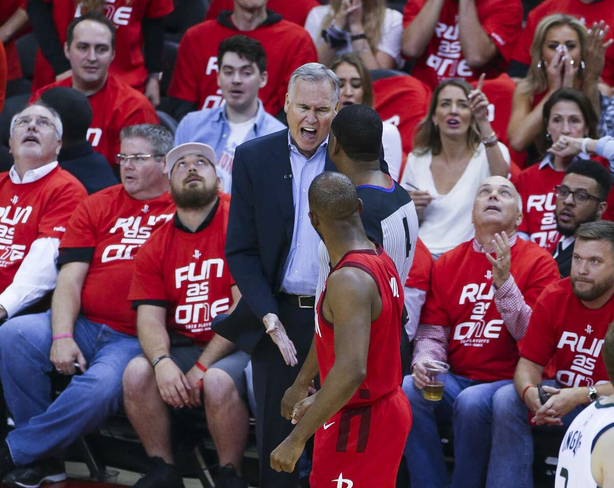 Houston Rockets head coach Mike D'Antoni reacts to a call during Game 5 of an NBA first round playoff series at Toyota Center in Houston, Wednesday, April 24, 2019.