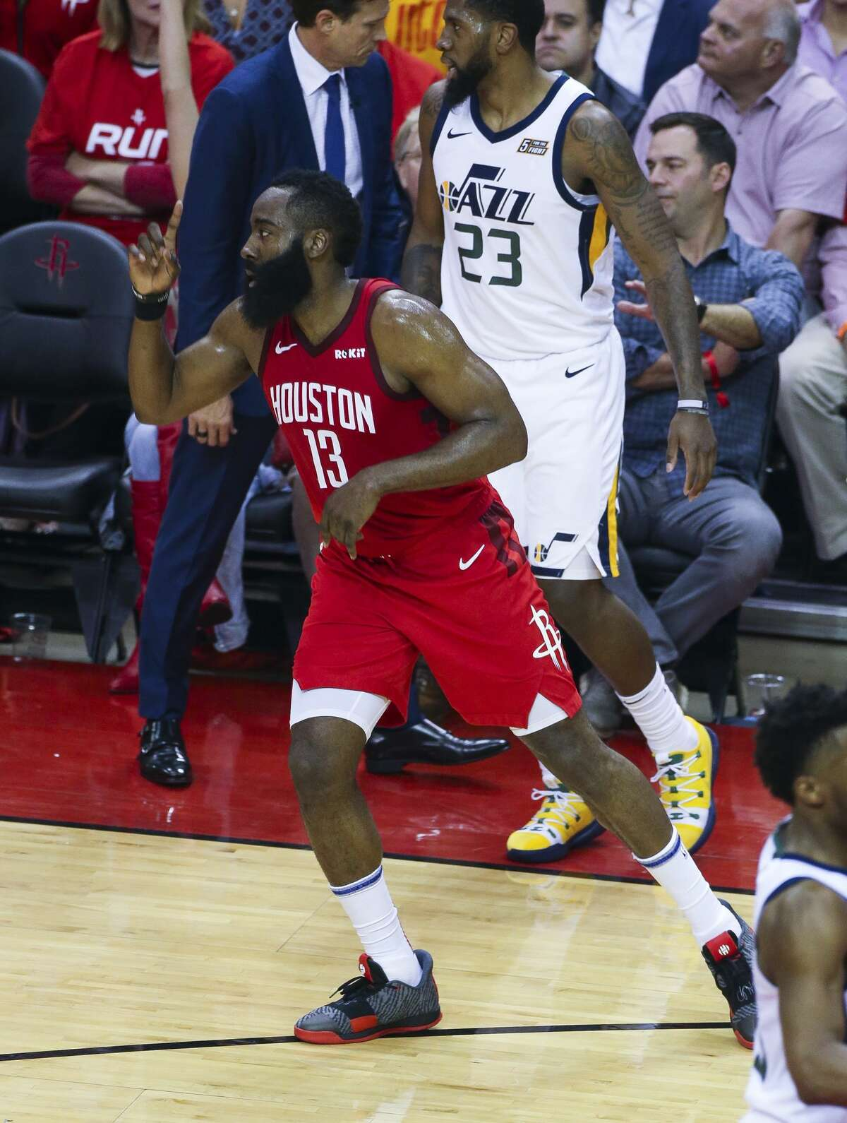 Houston Rockets guard James Harden (13) celebrates a three point shot during Game 5 of an NBA first round playoff series at Toyota Center in Houston, Wednesday, April 24, 2019.