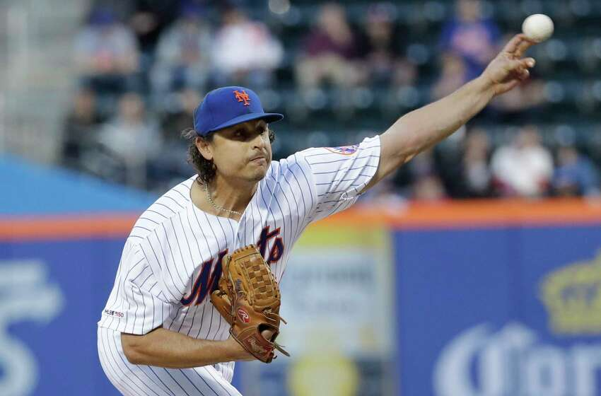 New York Mets' Jason Vargas delivers a pitch during the first inning of a baseball game against the Philadelphia Phillies Wednesday, April 24, 2019, in New York. (AP Photo/Frank Franklin II)
