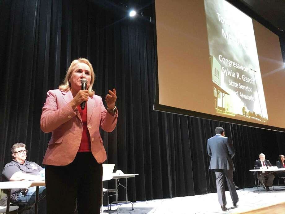 U.S. Congresswoman Sylvia Garcia (D-TX) speaks at Milby High School auditorium, Wednesday, April 24, 2019, during townhall meeting in Deer Park. Garcia told the audience that all parties will be accountable for the recent chemical plant fires. Photo: Perla Trevizo/Staff / Houston Chronicle