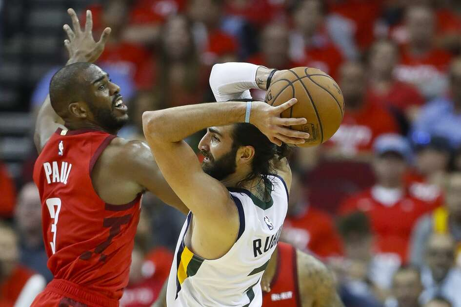 Houston Rockets guard Chris Paul (3) defends Utah Jazz guard Ricky Rubio (3) during the fourth quarter of game 5 of the NBA playoffs at theToyota Center, in Houston, Wednesday, April 24, 2019.