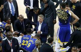 Golden State Warriors head coach Steve Kerr talks to his team during a timeout in the first quarter during game 5 of the Western Conference Playoffs between the Golden State Warriors and the Los Angeles Clippers at Oracle Arena on Wednesday, April 24, 2019 in Oakland, Calif.