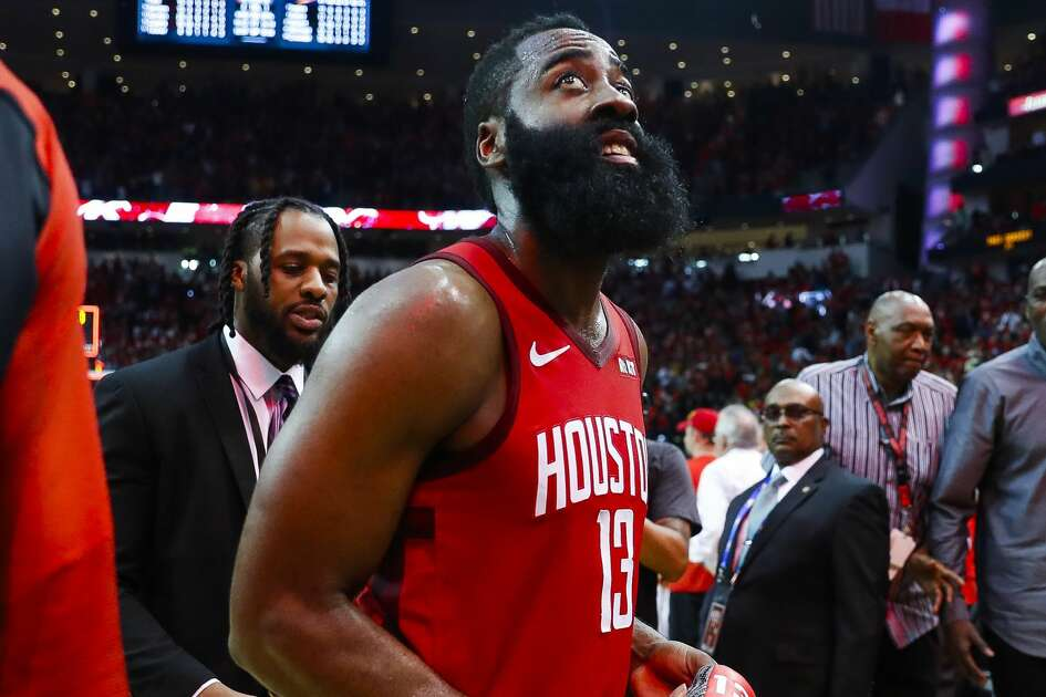 Houston Rockets guard James Harden (13) walks off of the court at the conclusion of game 5 of the NBA playoffs at theToyota Center, in Houston, Wednesday, April 24, 2019.