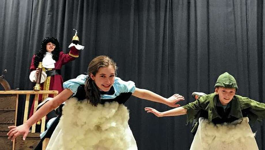 "Salem Lutheran School students rehearse a scene from the school's upcoming production of Disney's ""Peter Pan Jr."" Photo: Photo Provided"