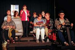"""Members of the cast of Ken Bradbury's """"Branson Bound"""" rehearse Monday at Lovejoy Hall, the former Congregational Church UCC at 520 W. College Ave. Bradbury was in the process of writing the play when he died in November."""