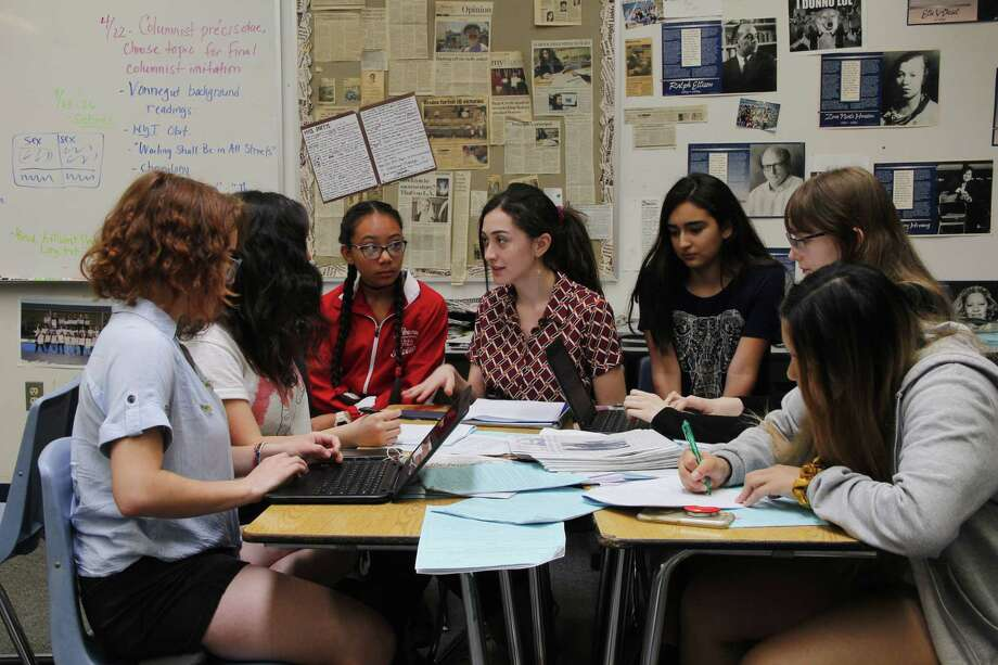 Bailey Kirkeby, second from right, is pursuing a profile for her high school newspaper of a classmate who works in the porn industry. She and her classmates are fighting to prevent their school district from viewing an advance copy. Photo: Courtesy Of Lilly Lim / Handout
