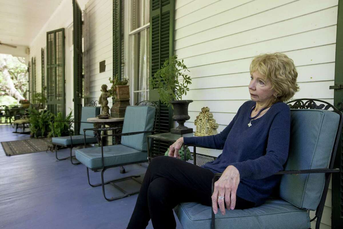 Landowner Mary Thompson sits on the front porch at Catalpa Plantation on Tuesday, April 2, 2019, in St. Francisville, La. Thompson has leased her land to an oil company for drilling and exploration. The Austin Chalk shale play that stretches from Texas into Louisiana is potentially being seen as a next big oil and gas play for Houston energy companies.