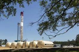 Drilling commences on the Erwin #1 well site on Tuesday, April 2, 2019, in St. Francisville, La. The Austin Chalk shale play that stretches from Texas into Louisiana is potentially being seen as a next big oil and gas play for Houston energy companies.