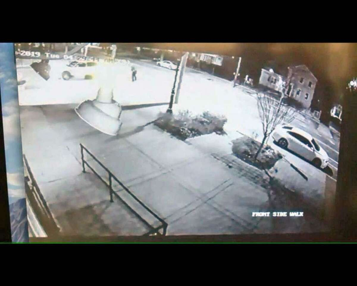 A screenshot of the video posted by Fox 61 that shows another angle of the police-involved shooting in New Haven, Conn. This new footage was posted by the news organization on April 19. The non-fatal shooting took place on Tuesday, April 16.