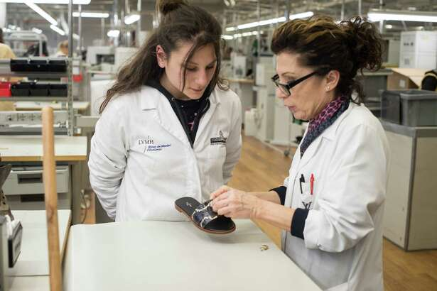 Student Giovanna Scarano at the Louis Vuitton shoe making workshop is in Fiesso d'Artico.