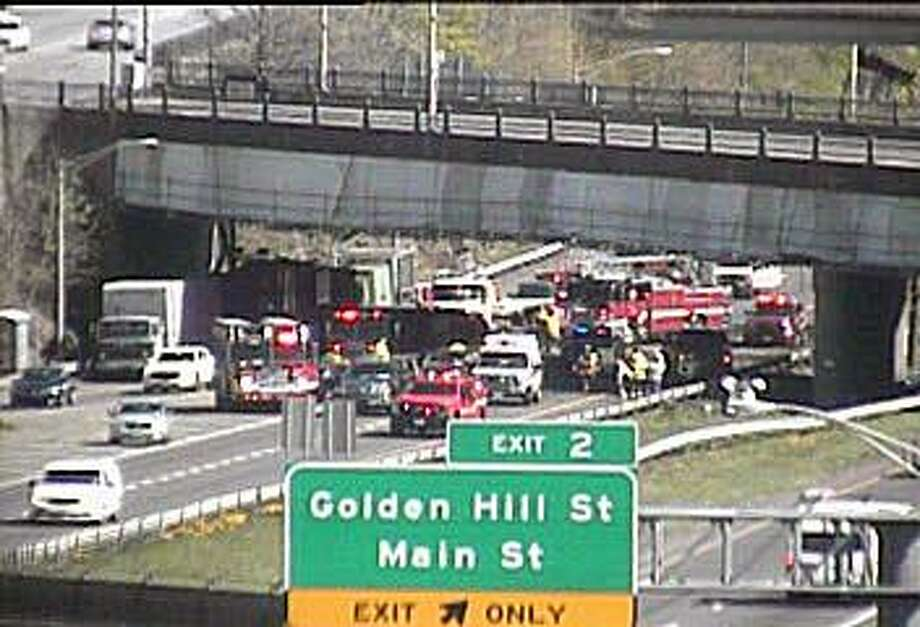 A multi-vehicle accident has closed most southbound lanes on Route 8/25 on Thursday, April 25, 2019. Photo: /