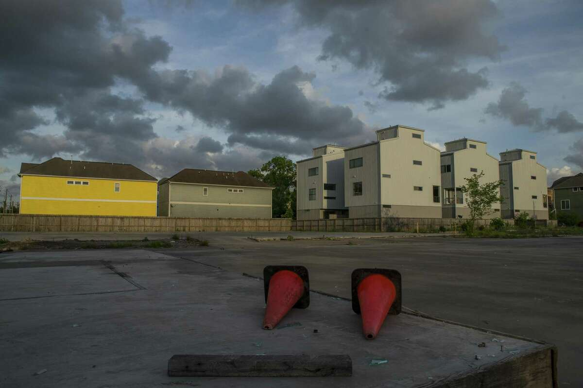 Ten-year-old development on the left is joined by newer development on the right continuing to change a former heavily industrial area in Shady Acres in Houston, Monday, April 22, 2019.