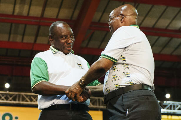 South Africa's Cyril Ramaphosa, left.