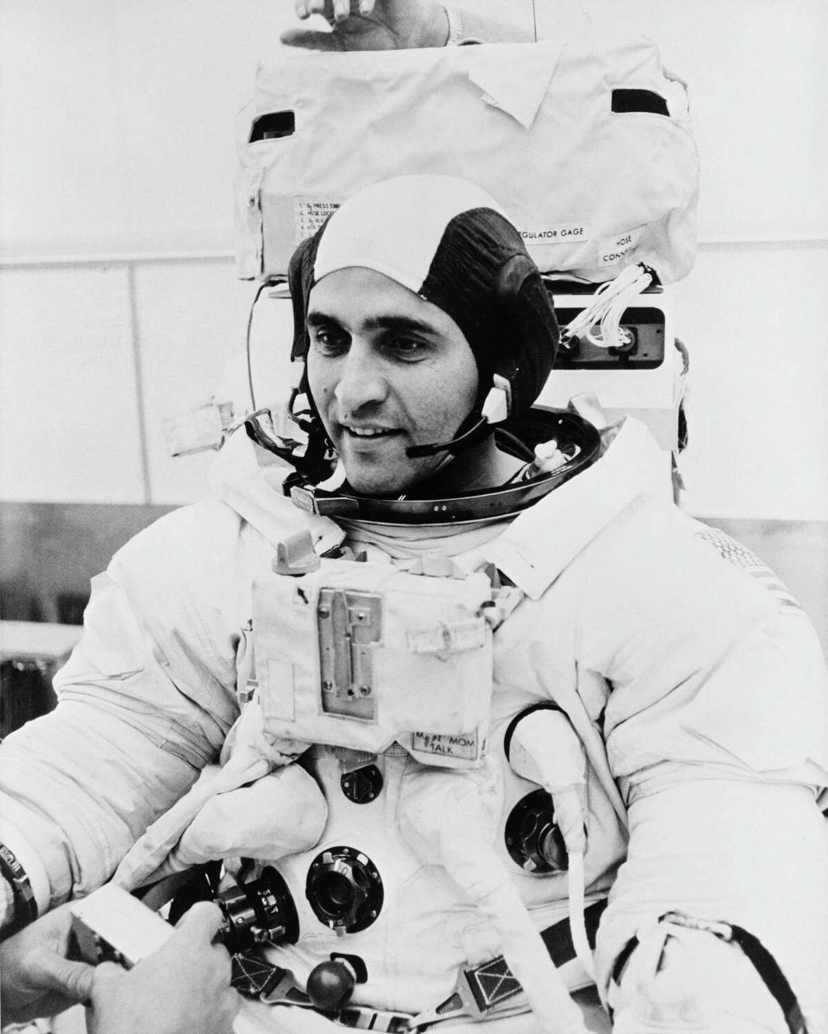 """Scientist-astronaut Harrison H. """"Jack"""" Schmitt, lunar module pilot of the Apollo 17 lunar landing mission, is shown in this Sept. 8, 1972 photo suited up in preparation for extravehicular simulations at the Kennedy Space Center in Florida."""