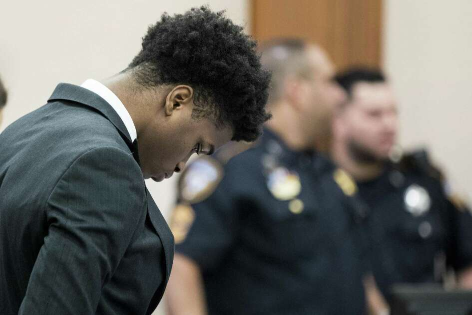 Antonio Armstrong, Jr., stands in the courtroom for closing arguments in his trail on Wednesday, April 24, 2019, in Houston. He's accused of killing his parents, Dawn Armstrong and ex-NFL player Antonio Armstrong, Sr., on July 29, 2016 at their Bellaire-area home.