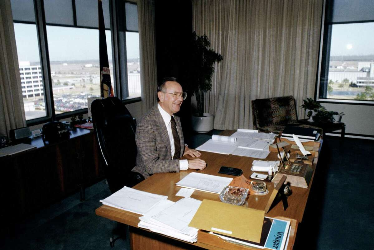 Dr. Christopher C. Kraft Jr., Johnson Space Center Director, in his office in 1981.