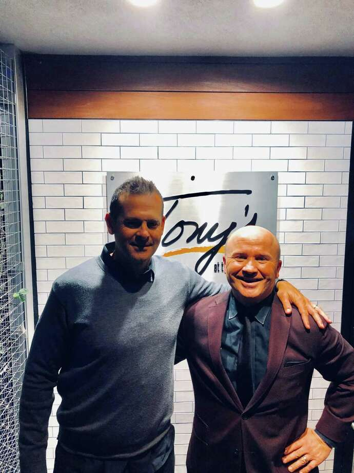 NY Yankees manager Aaron Boone and Tony Capasso at Tony's at the JHouse. Photo: Contributed