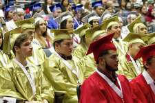Conroe ISD was ranked as the second most productive school district in Texas by the Education Resource Group. Here, seniors from high school around Conroe ISD listen during the district's mid-year graduation at College Park High School, Monday, Dec. 17, 2018, in The Woodlands.